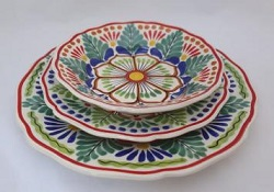 Mexican pottery mexican ceramic folk art Dish Set<br>3 pieces<br>Green-Blue-Terracota
