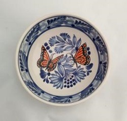 mexican ceramic mexican potttery folk art talavera Gorky Gonzalez Cereal Bowl<br>Monarca Butterfly<br>Blue-Orange