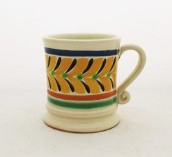 mexican ceramic mexican potttery folk art talavera Gorky Gonzalez Coffe Mug Traditional<br>14 Oz<br>Blue-Yellow-Black Colors