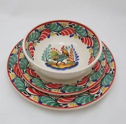 Mexican pottery mexican ceramic folk art Dish Set Rooster<br>3 pieces<br>Green-Red