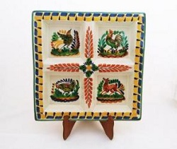 Mexican pottery mexican ceramic folk art Square Tray<br>Asst Animals<br>Yellow-Blue Colors