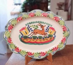Mexican pottery mexican ceramic folk art Deer<br>Cut Flat Platter