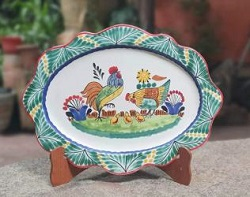 Mexican pottery mexican ceramic folk art Rooster Family<br>Cut Flat Platter
