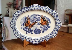 Mexican pottery mexican ceramic folk art Monarch Butterfly<br>Cut Flat Platter<br>Blue