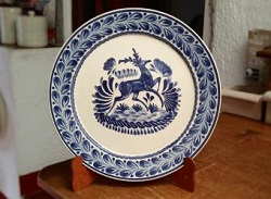 Mexican pottery mexican ceramic folk art Blue Deer<br>Flat Round Platter