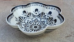 mexican pottery mexican ceramic folk art talavera Flower Salad Bowl<br>Black and White