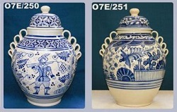 Mexican pottery mexican ceramic folk art Large Decorative Vases<br>Blue and White