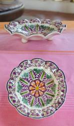 ceramic-flower-snack-dish-hand-painted-purple-tableware-home-garden-