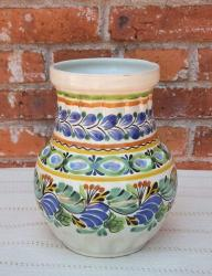 mexican+flower+vase+pottery+hand+thrown+majolica+decorative+jar+home+and+garden+gorky+worshop+guanajuato