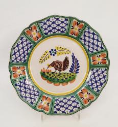mexican-ceramic-plates-pottery-hand-painted-chicken-pattern-talavera-majolica-table-decor-mexico