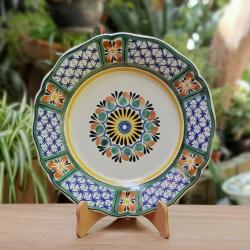 mexican-ceramic-plates-pottery-hand-painted-flower-pattern-talavera-majolica-table-decor-mexico