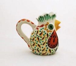 mexican-ceramic-pottery-folk-art-creamer-rooster-majolica-hand-made-mexico-tabledecor
