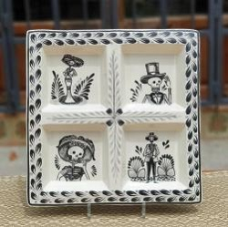 mexican-ceramic-tray-pottery-hand-painted-guanajuato-mexico-tableware-amazon-black-catrina-motives-halloween-decorations-ideas