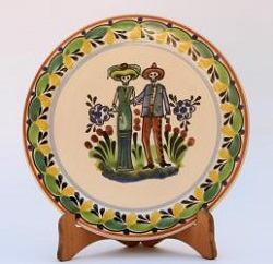 mexican-decorative-plate-couple-catrin-catrina-motives-halloween-day-of-dead-ceramic-hand-made-mexico