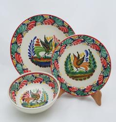 mexico-ceramic-dish-set-bird-christmas-collection-talavera-majolica-made-in-mexico-tableware