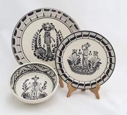 mexico-ceramic-dish-set-catrina-collection-talavera-majolica-made-in-mexico-tableware-black-iii