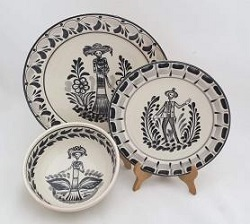 mexico-ceramic-dish-set-catrina-collection-talavera-majolica-made-in-mexico-tableware-black
