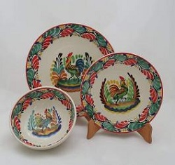 mexico-ceramic-dish-set-rooster-christmas-collection-talavera-majolica-made-in-mexico-tableware