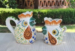 mexico-ceramics-pottery-rooster-creamer-and-sugar-set-majolica-hand-made-in-mexico