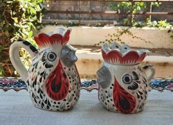 mexico-ceramics-pottery-rooster-creamer-and-sugar-set-majolica-hand-painted-mexico-black