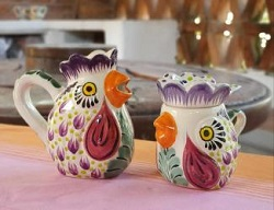 mexico-ceramics-pottery-rooster-creamer-and-sugar-set-majolica-hand-painted-mexico-purple