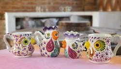 mexico-ceramics-pottery-rooster-creamer-and-sugar-set-mug-majolica-hand-painted-mexico-purple