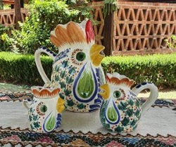 mexico-ceramics-pottery-rooster-creamer-and-sugar-set-water-pitcher-majolica-hand-painted-mexico-2