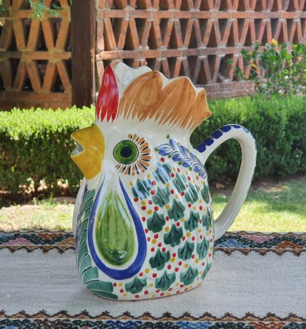 mexican ceramic mexican potttery folk art talavera Gorky Gonzalez Rooster Water Pitcher<br>MultiColors IV