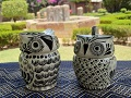 mexico-pottery-ceramic-owl-sugar-and-creamer-majolica-black-and-white